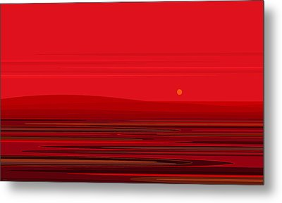 Ripple - Red Metal Print