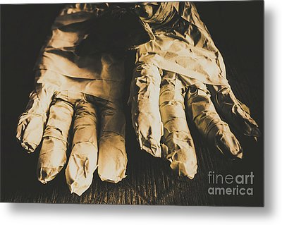 Rising Mummy Hands In Bandage Metal Print by Jorgo Photography - Wall Art Gallery
