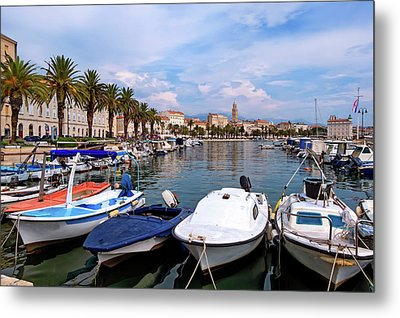 Riva Waterfront, Houses And Cathedral Of Saint Domnius, Dujam, Duje, Bell Tower Old Town, Split, Croatia Metal Print by Elenarts - Elena Duvernay photo