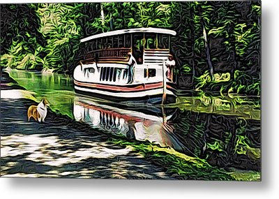Metal Print featuring the digital art River Boat With Welsh Corgi by Kathy Kelly