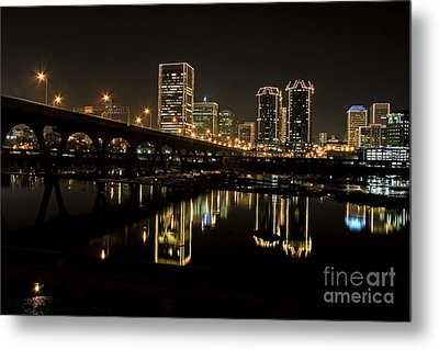 River City Lights At Night Metal Print by Tim Wilson