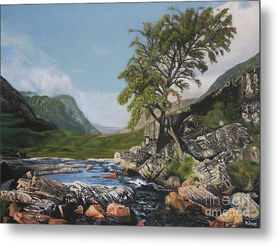 River Coe Scotland Oil On Canvas Metal Print