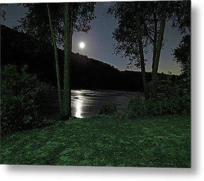 River In Moonlight Metal Print