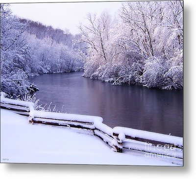 River In Winter Metal Print by Phil Perkins