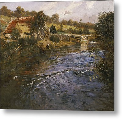 River Landscape With A Washerwoman  Metal Print by Fritz Thaulow