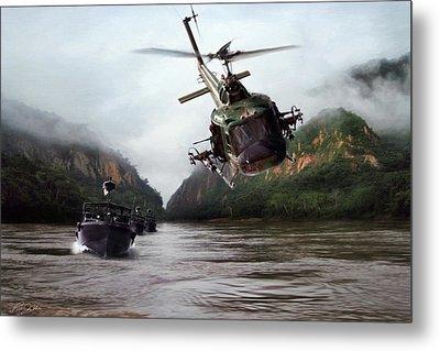 River Patrol Metal Print by Peter Chilelli