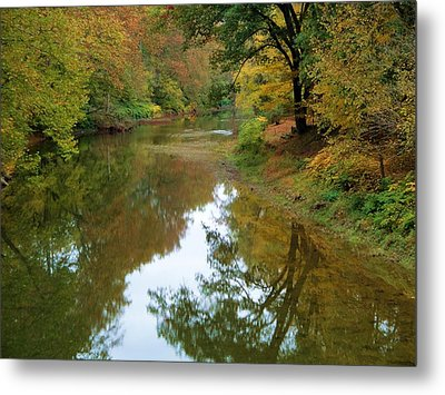 River Reflection Autumn Sunday Metal Print by Terry  Wiley