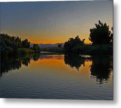 River Sunset Metal Print by Ernie Echols