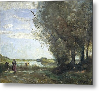 River View Metal Print by Jean-Baptiste-Camille Corot