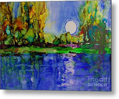 Metal Print featuring the painting River Walk by Priti Lathia