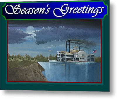 Riverboat Season's Greetings Metal Print by Stuart Swartz