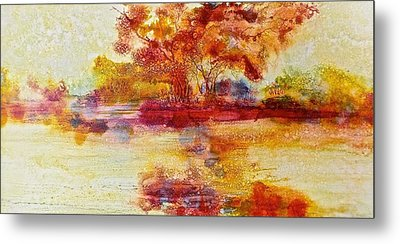 Riverscape In Red Metal Print by Carolyn Rosenberger