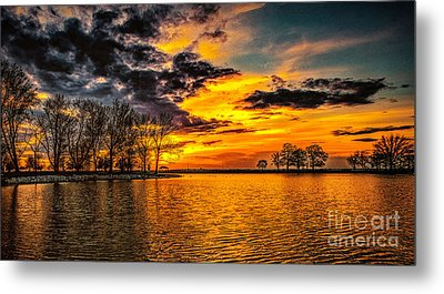 Metal Print featuring the photograph Riverview Beach Park Sunset by Nick Zelinsky