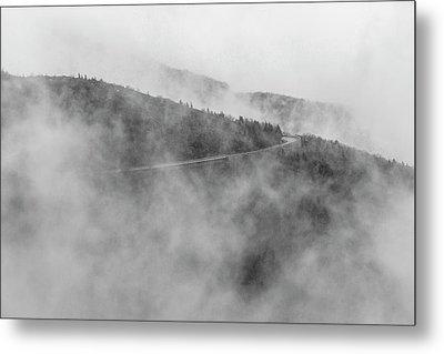 Road In Fog - Blue Ridge Parkway Metal Print