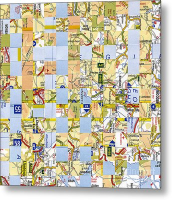 Metal Print featuring the mixed media Road Map by Jan Bickerton