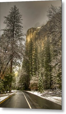 Road To El Capitan After Snow Storm At Sunrise Metal Print