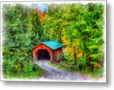Road To The Covered Bridge Metal Print
