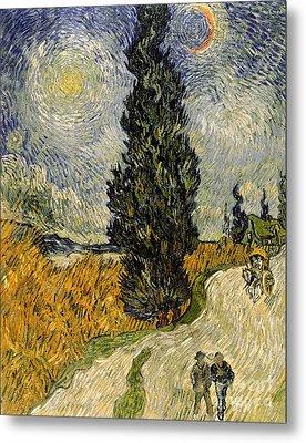 Road With Cypresses Metal Print by Vincent Van Gogh