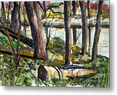 Metal Print featuring the painting Roadside Park Along The Wabash River by Charlie Spear