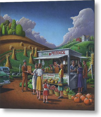 Roadside Produce Stand - Fresh Produce - Vegetables - Appalachian Vegetable Stand - Square Format Metal Print by Walt Curlee