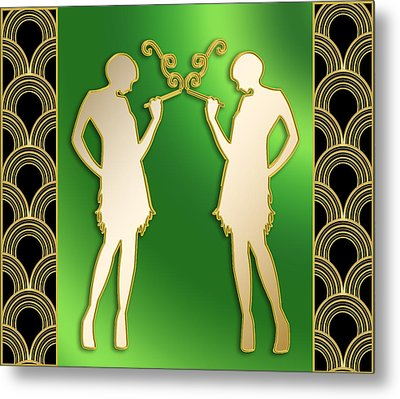 Metal Print featuring the digital art Roaring 20s Girls - Chuck Staley by Chuck Staley