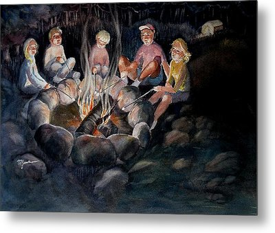 Metal Print featuring the painting Roasting Marshmallows by Marilyn Jacobson