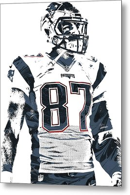 Rob Gronkowski New England Patriots Pixel Art 3 Metal Print by Joe Hamilton