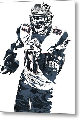 Rob Gronkowski New England Patriots Pixel Art 5 Metal Print by Joe Hamilton