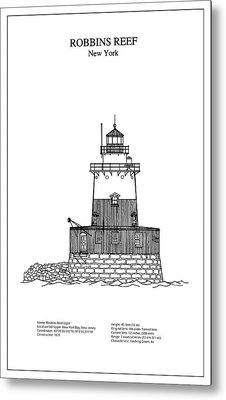 Robbins Reef Lighthouse - New York - Blueprint Drawing Metal Print