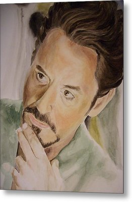 Robert Downey Jr Iron Man Metal Print by Angela Schwengler