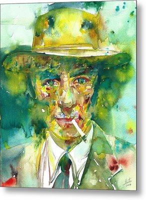 Metal Print featuring the painting Robert Oppenheimer - Watercolor Portrait.2 by Fabrizio Cassetta