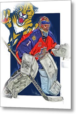 Roberto Luongo Florida Panthers Oil Art Metal Print by Joe Hamilton