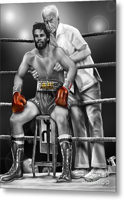 Roberto Red Gloves Of Gray  Metal Print by Reggie Duffie