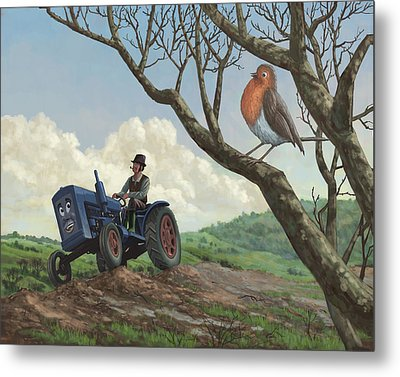 Robin In Field Looking At Farmer Metal Print by Martin Davey