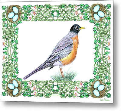 Robin In Spring Metal Print