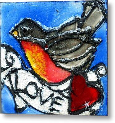 Robin With Heart Metal Print