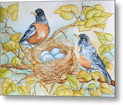 Robins Nest Metal Print by Inese Poga