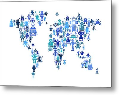 Robot Map Of The World Map Metal Print