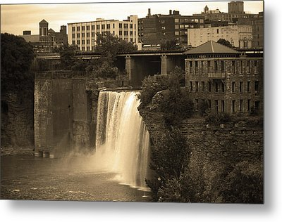 Metal Print featuring the photograph Rochester, New York - High Falls 2 Sepia by Frank Romeo