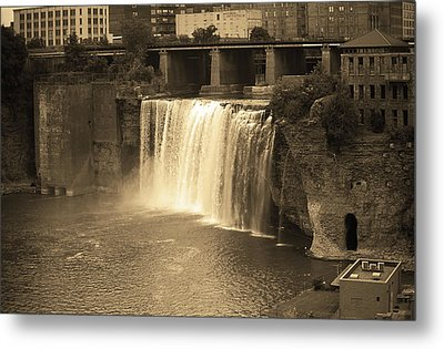 Metal Print featuring the photograph Rochester, New York - High Falls Sepia by Frank Romeo