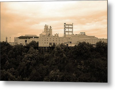 Metal Print featuring the photograph Rochester, Ny - Factory On A Hill Sepia by Frank Romeo