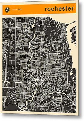 Rochester Ny Map Metal Print by Jazzberry Blue
