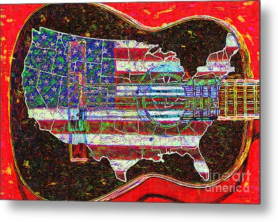 Rock And Roll America 20130123 Red Metal Print by Wingsdomain Art and Photography