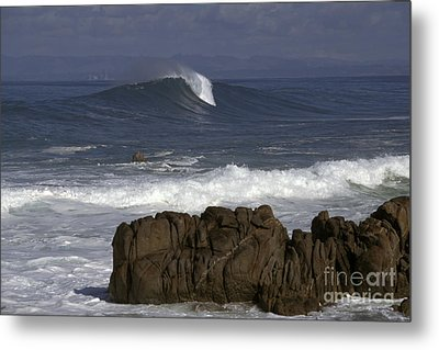 Metal Print featuring the photograph Rock And Wave by Stan and Anne Foster