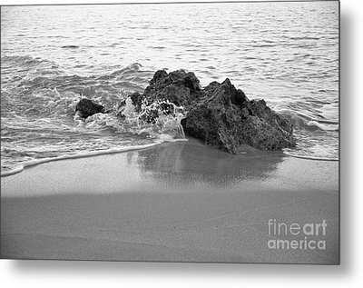 Rock And Waves In Albandeira Beach. Monochrome Metal Print