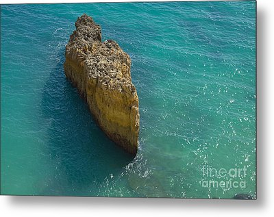 Rock Formation And The Sea In Algarve Metal Print