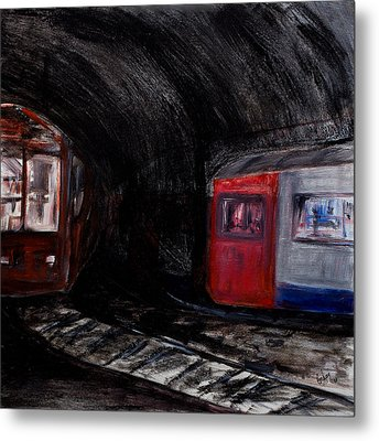 Rock Me London Underground Metal Print by Emma Kinani