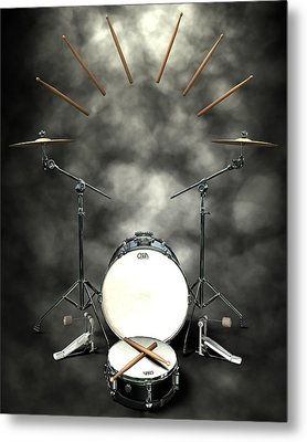 Rock N Roll Crest-the Drummer Metal Print by Frederico Borges