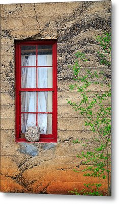 Metal Print featuring the photograph Rock On A Red Window by James Eddy