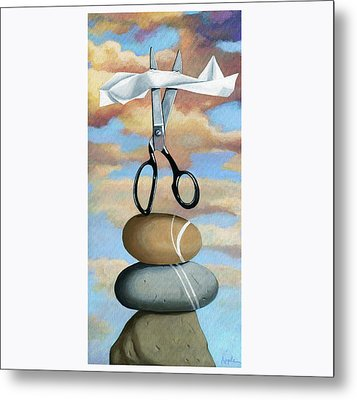 Rock, Paper, Scissors Metal Print by Linda Apple